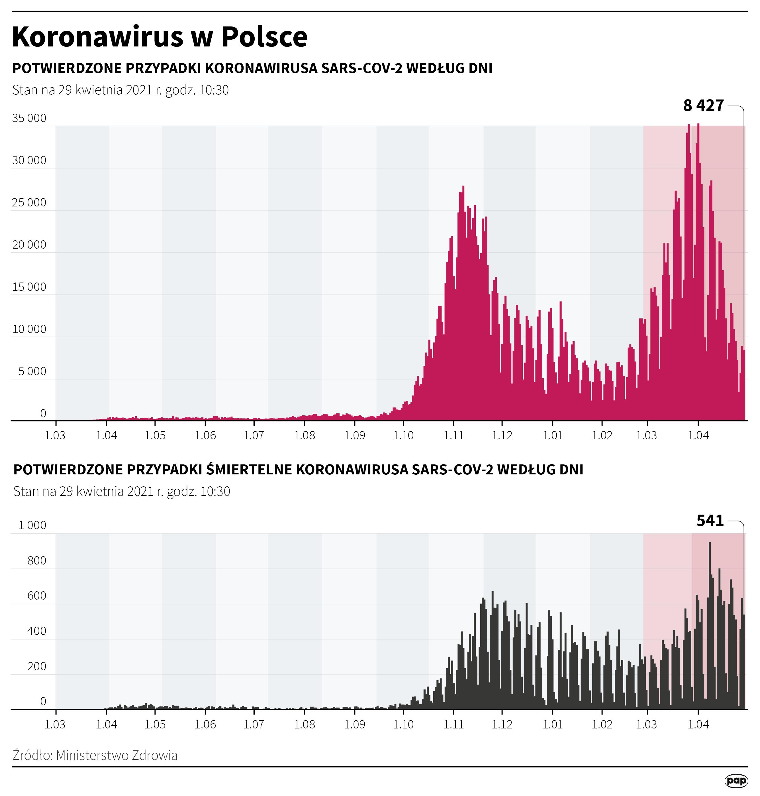 Koronawirus w Polsce - stan na 29 kwietnia [fot. Maciej Zieliński/PAP]