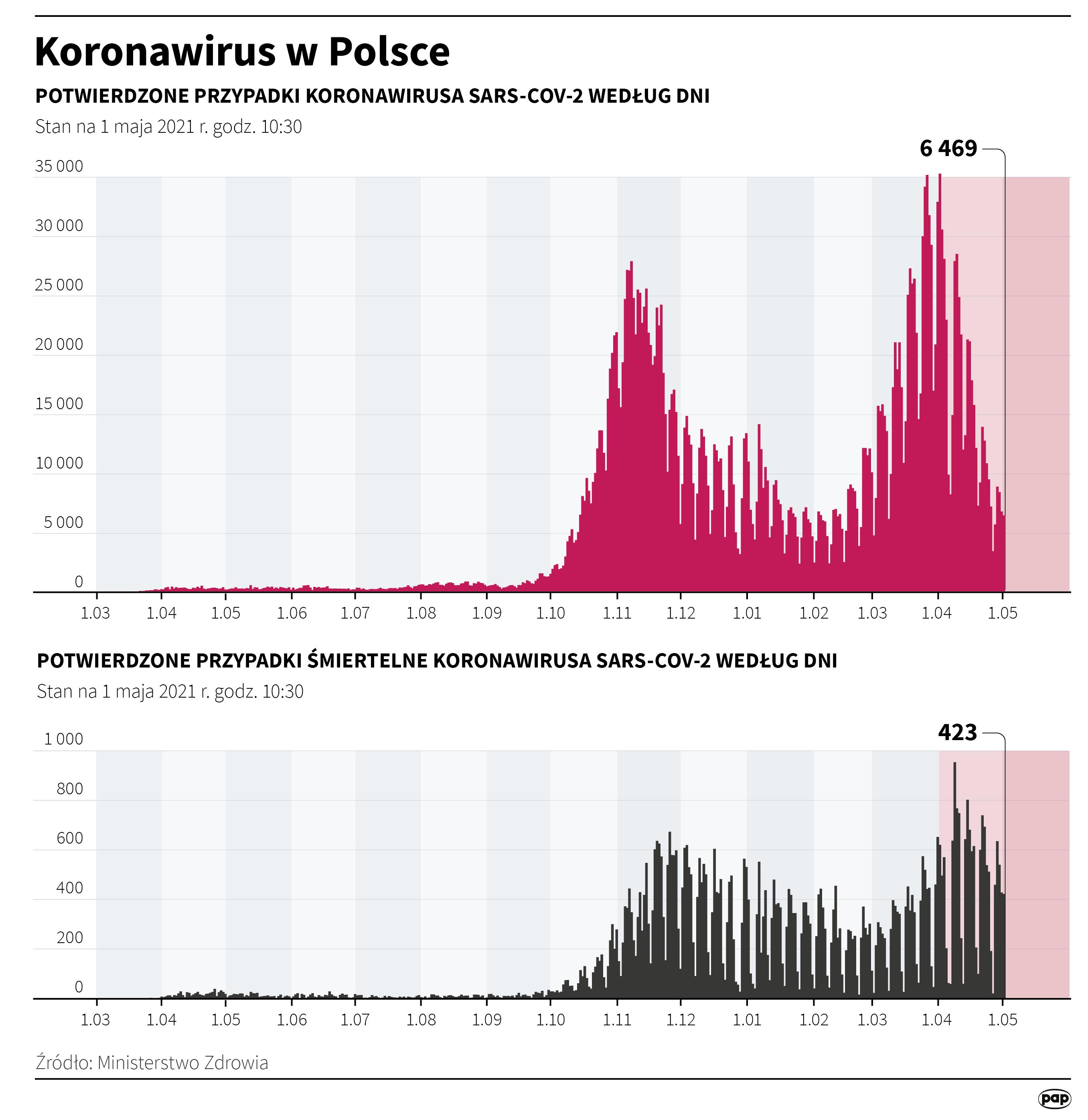 Koronawirus w Polsce - stan na 1 maja [rys. Maria Samczuk / PAP]