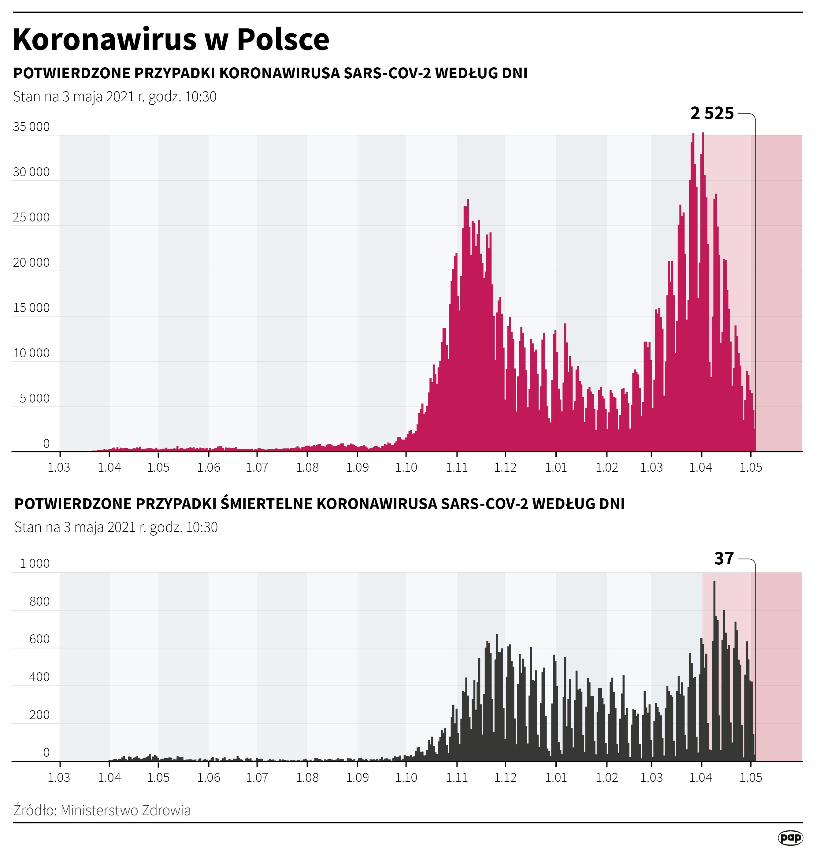 Koronawirus w Polsce - stan na 3 maja [Autor: Maria Samczuk, źródło: PAP]