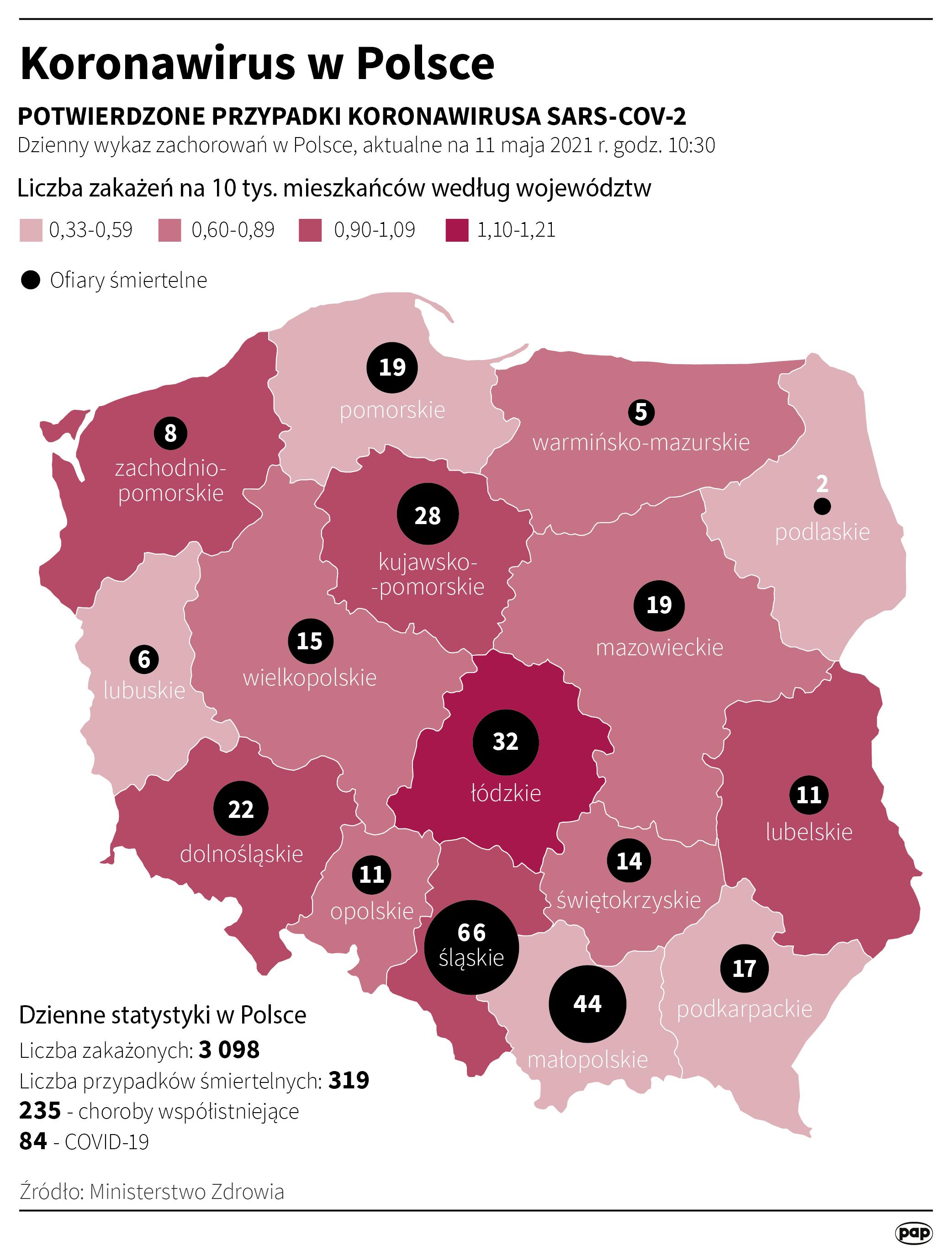 Koronawirus w Polsce - stan na 11 maja [Autor: Maciej Zieliński, źródło: PAP]