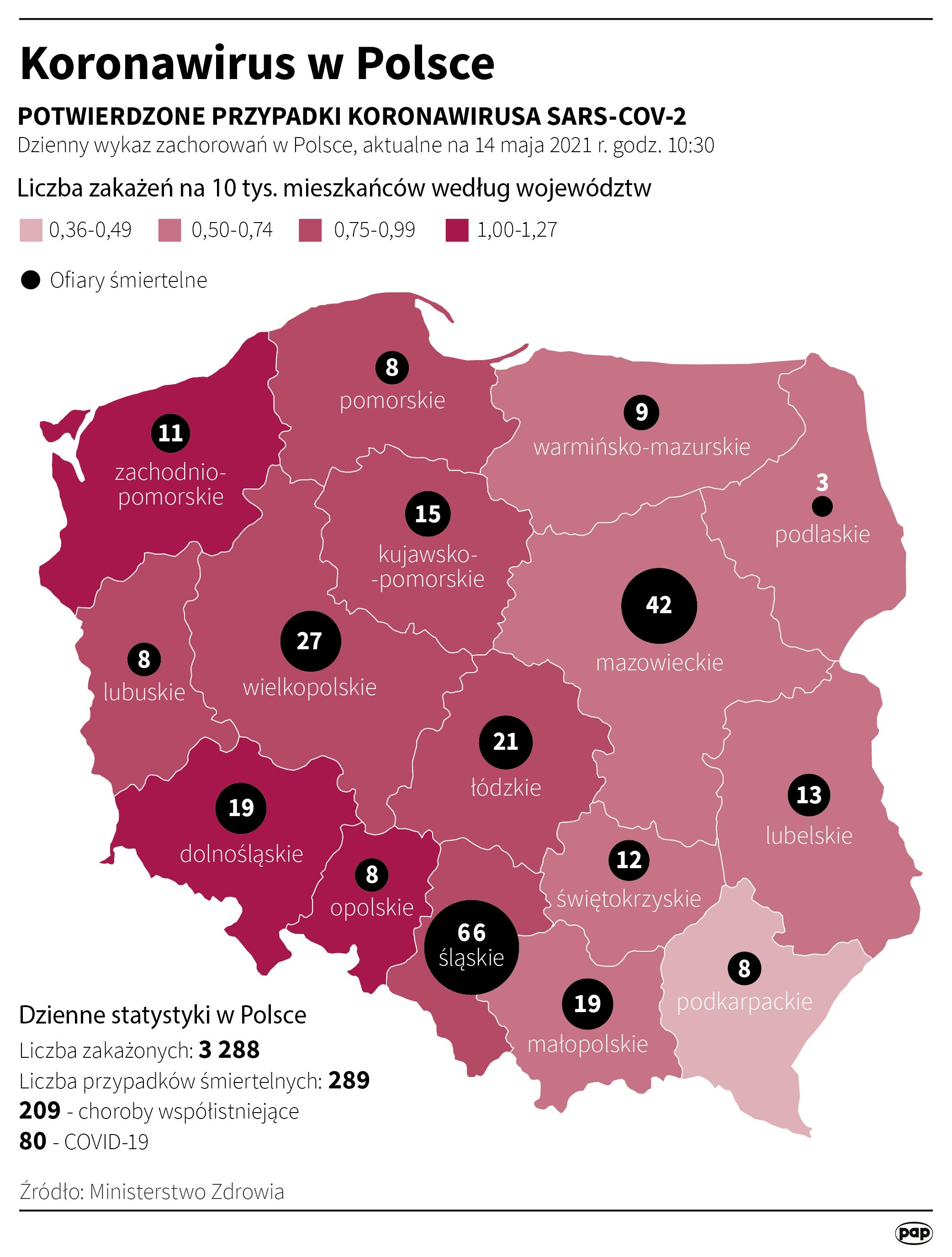 Koronawirus w Polsce - stan na 14 maja [Autor: Maciej Zieliński, źródło: PAP]