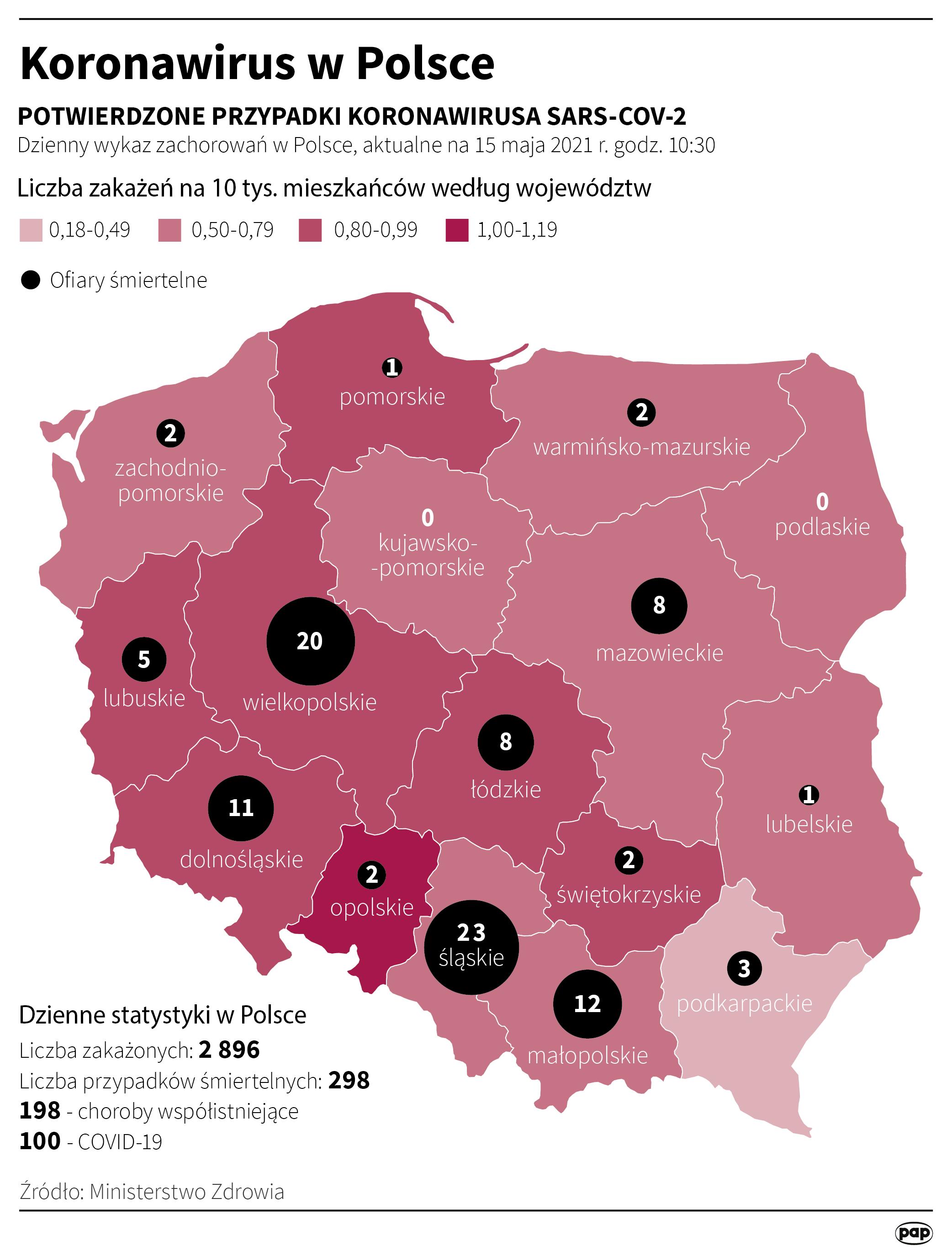 Koronawirus w Polsce - stan na 15 maja [rys. Maciej Zieliński / PAP]