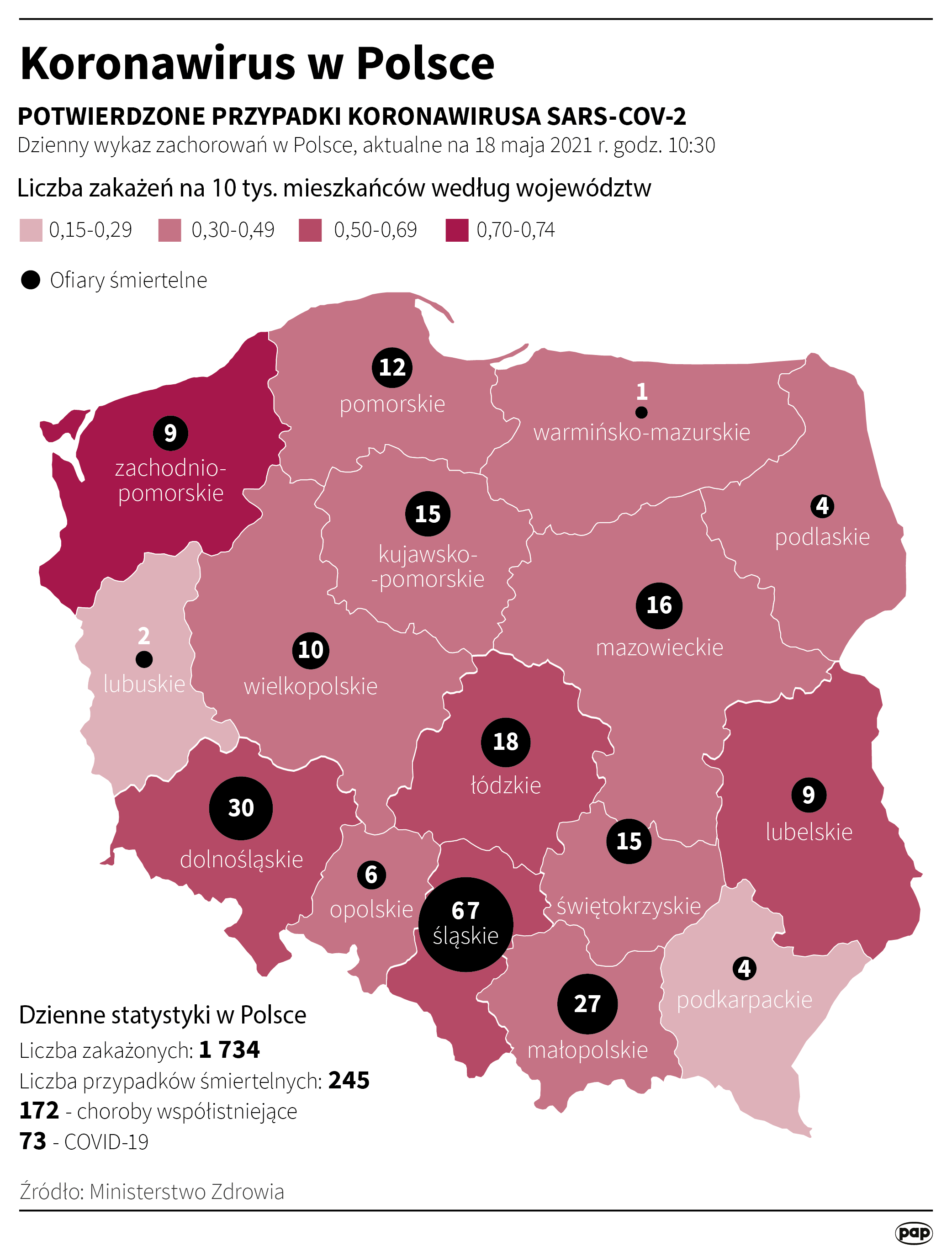 Koronawirus w Polsce - stan na 18 maja [Autor: Maciej Zieliński, źródło: PAP]