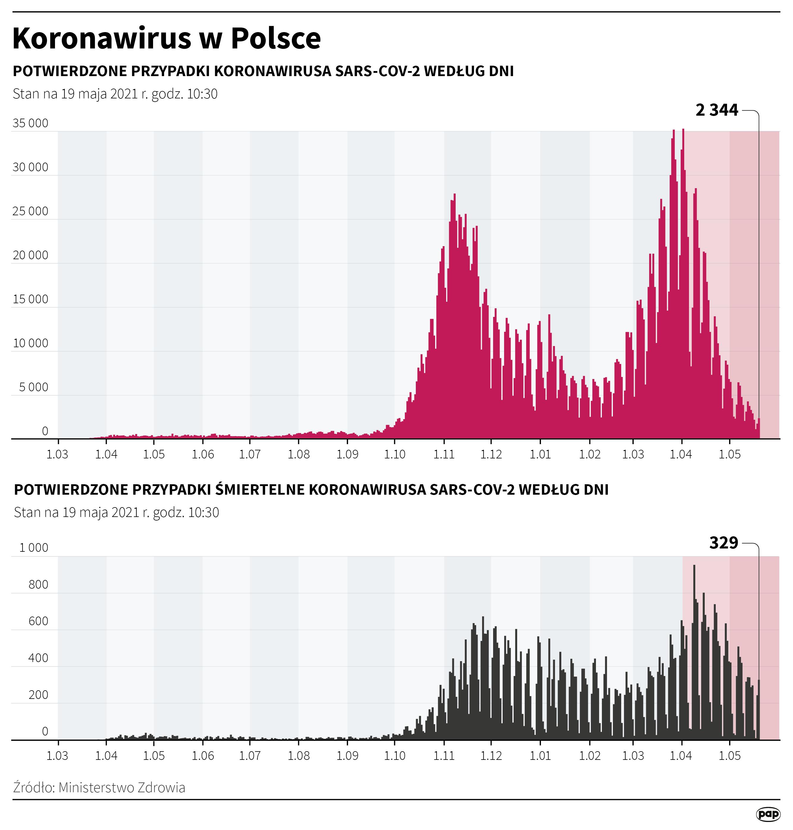 Koronawirus w Polsce - stan na 19 maja [fot. Maciej Zieliński/PAP]
