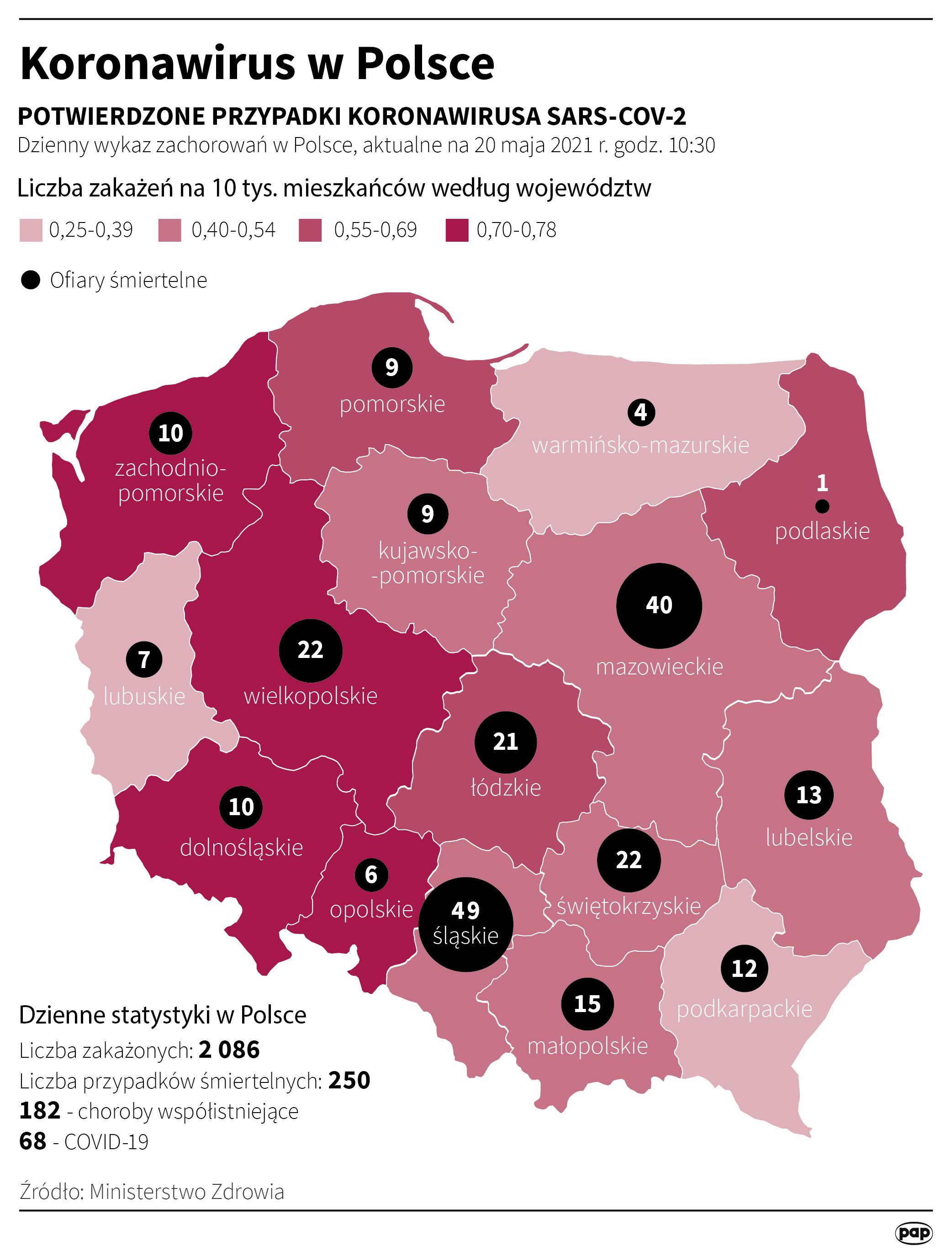 Koronawirus w Polsce - stan na 20 maja [fot. Maciej Zieliński/PAP]
