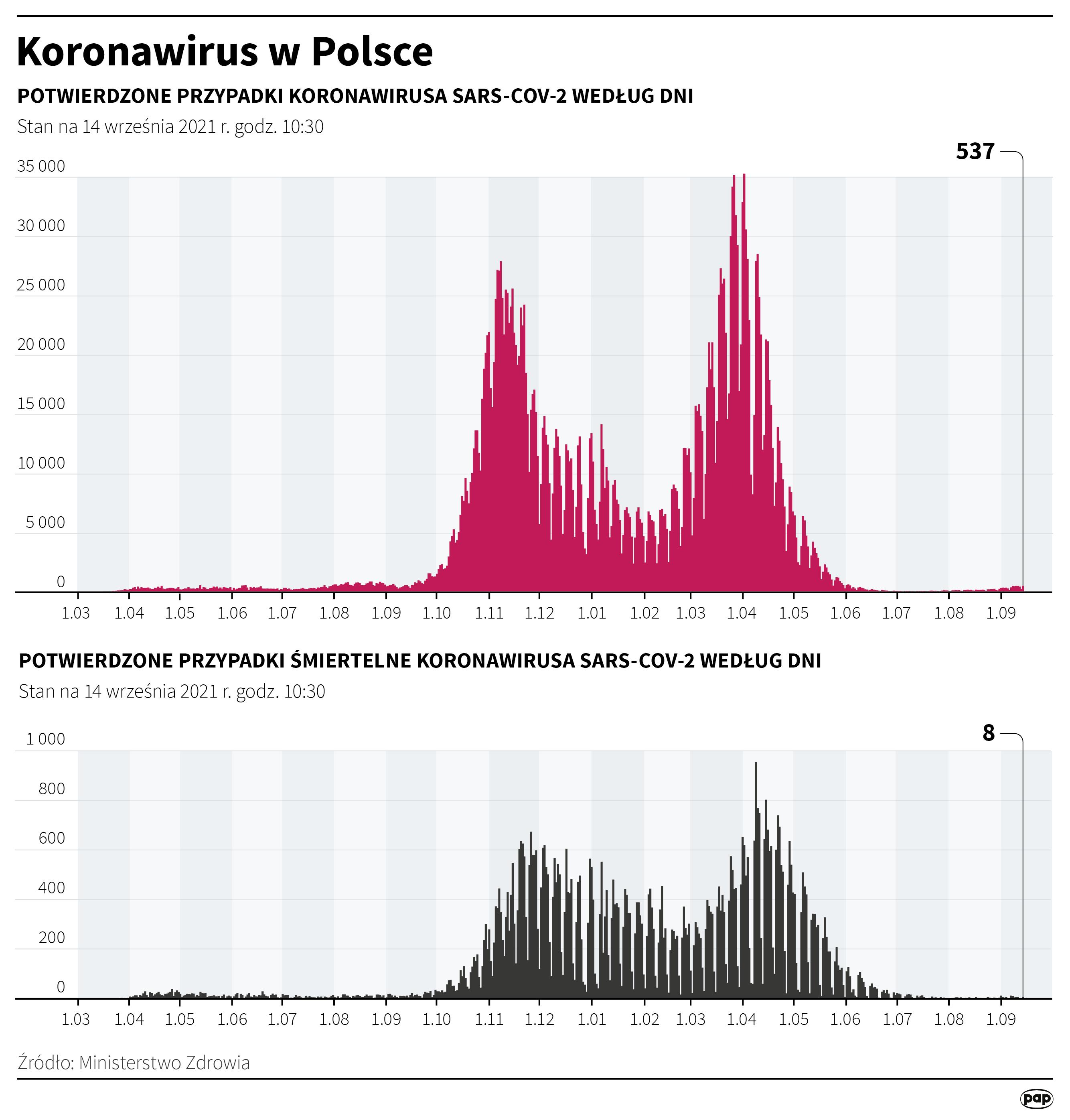 Koronawirus w Polsce - stan na 14 września [Autor: Maciej Zieliński, źródło: PAP]