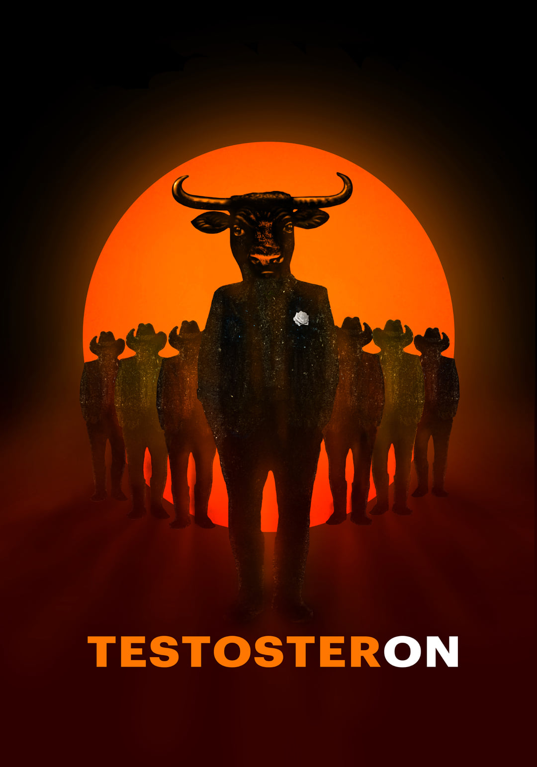 Plakat spektaklu 'Testosteron' w reżyserii Roberta Talarczyka [źródło: Teatr im. Jana Kochanowskiego w Opolu]