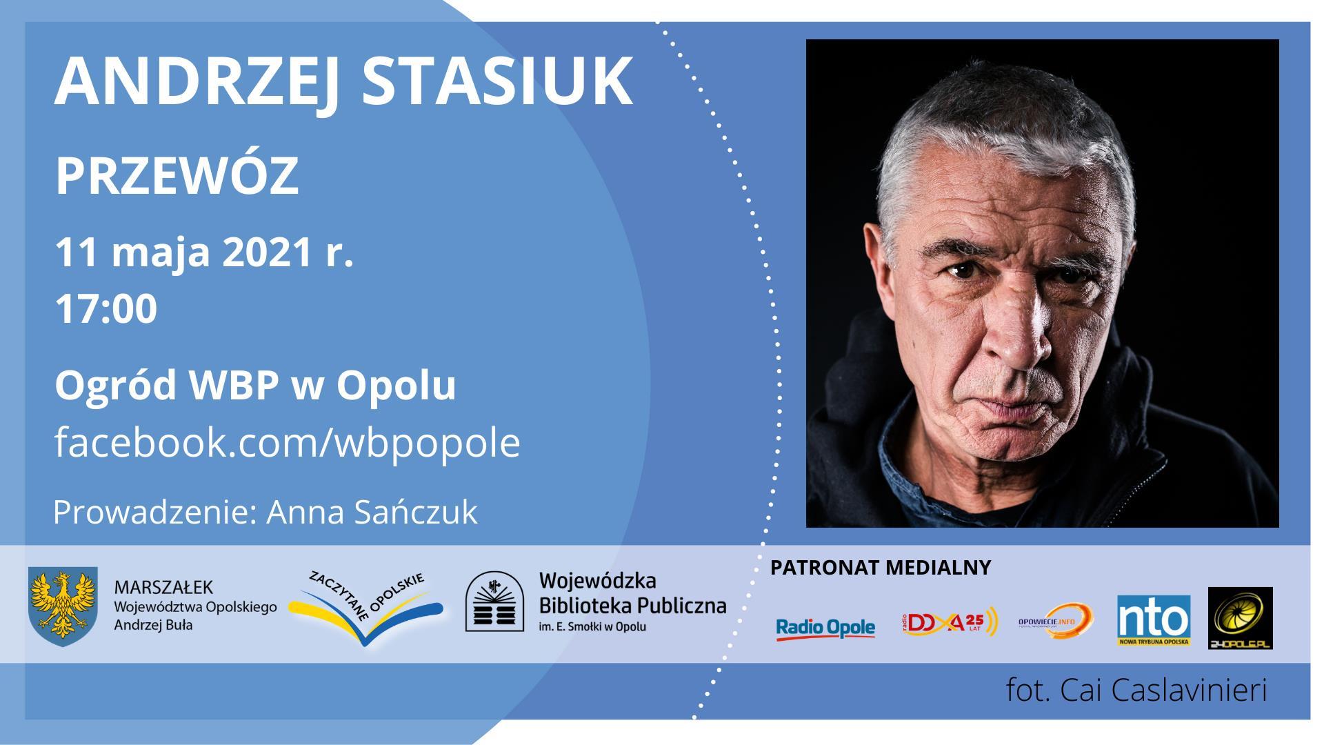Plakat reklamujący spotkanie z Andrzejem Stasiukiem organizowane przez WBP w Opolu i Wydawnictwo Czarne