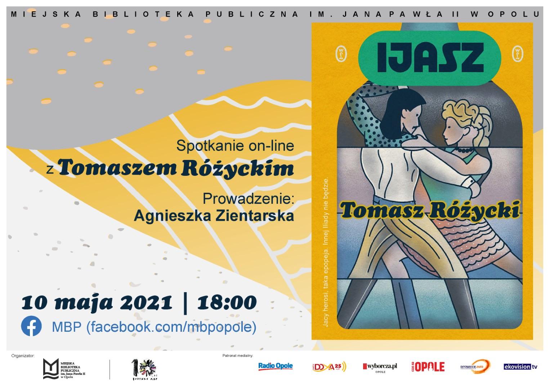 Plakat reklamujący spotkanie online z Tomaszem Różyckim