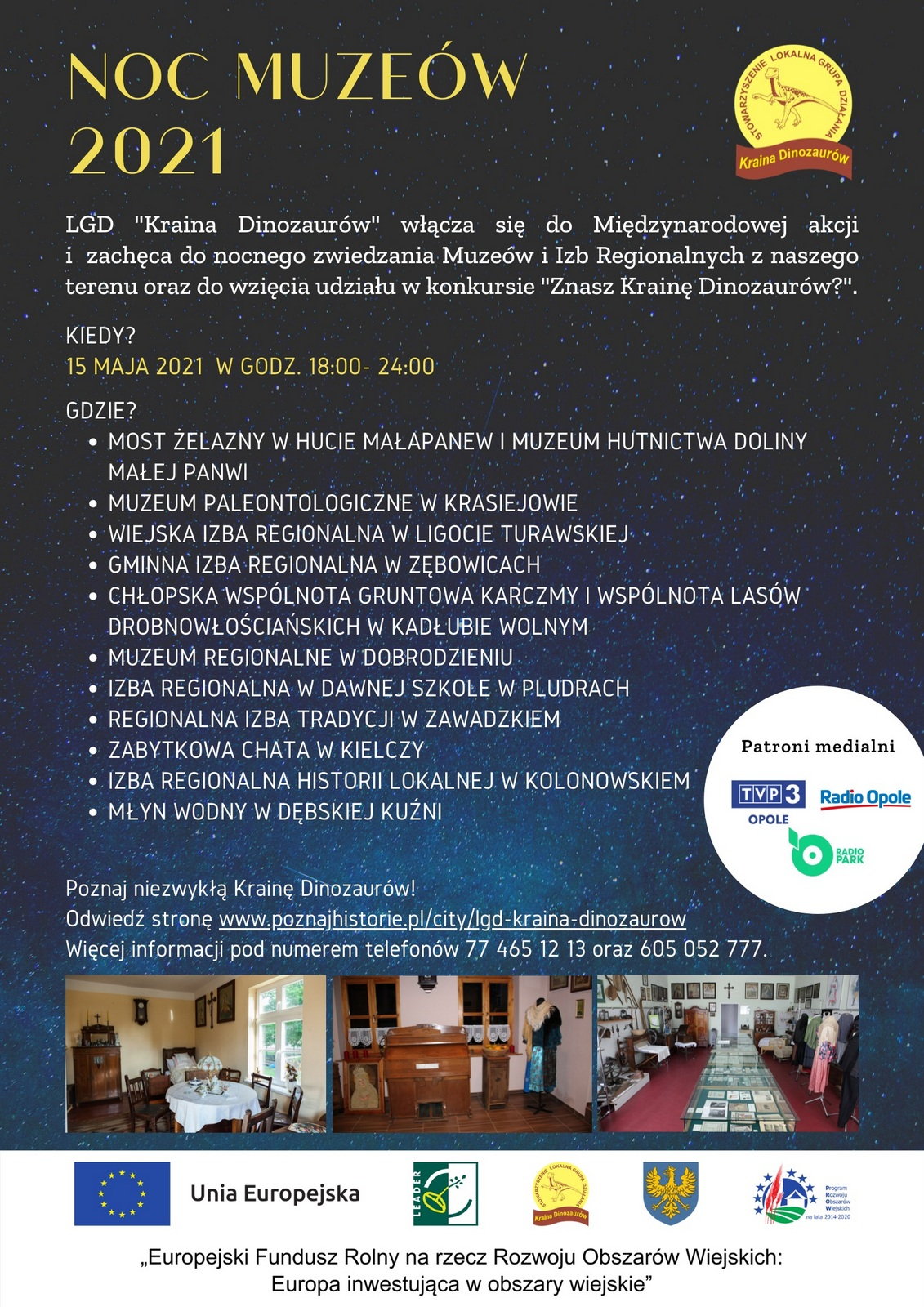 Plakat Nocy Muzeów 2021 organizowanej przez LGD 'Kraina Dinozaurów'