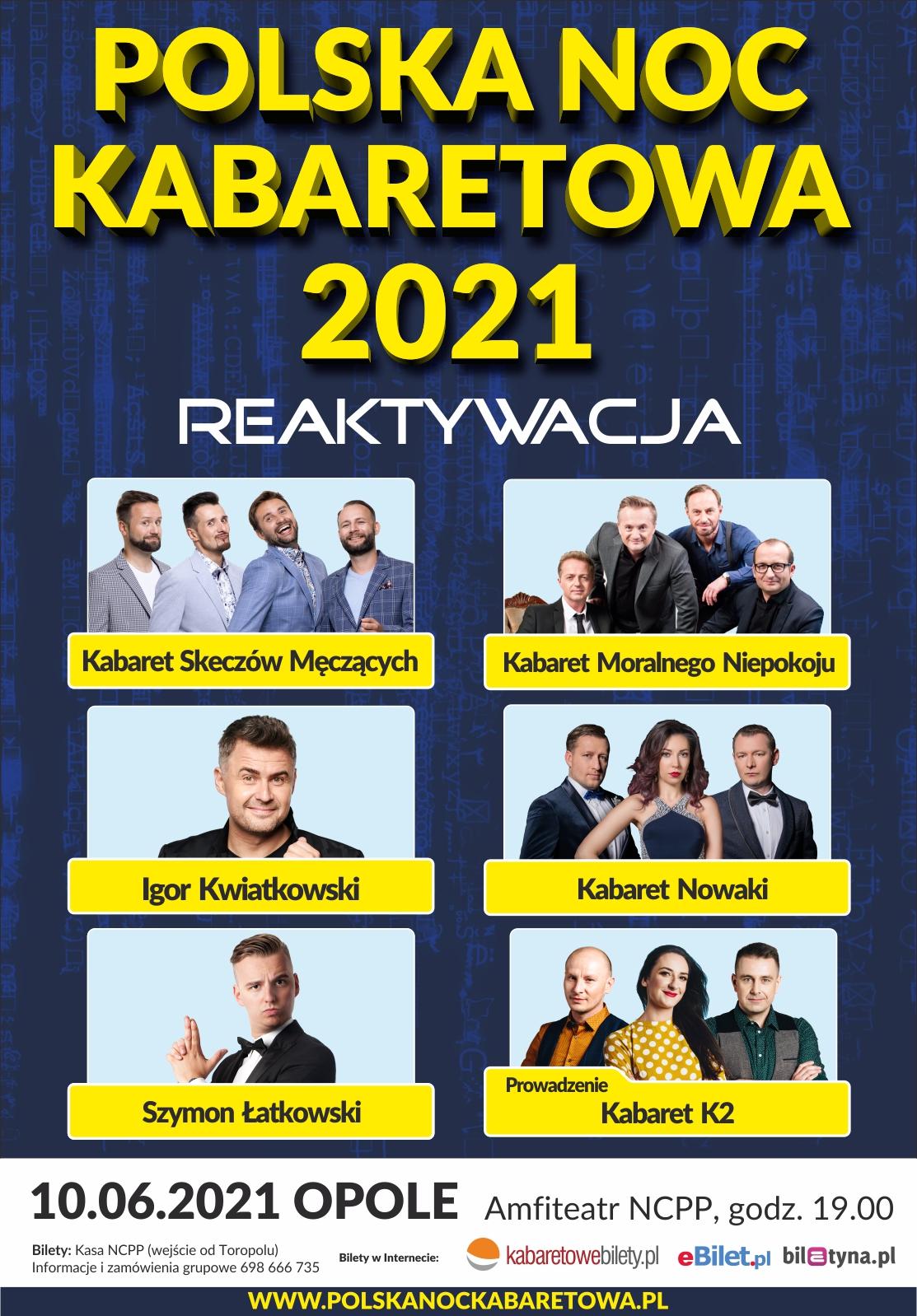 Plakat. Polska Noc Kabaretowa 2021 Reaktywacja