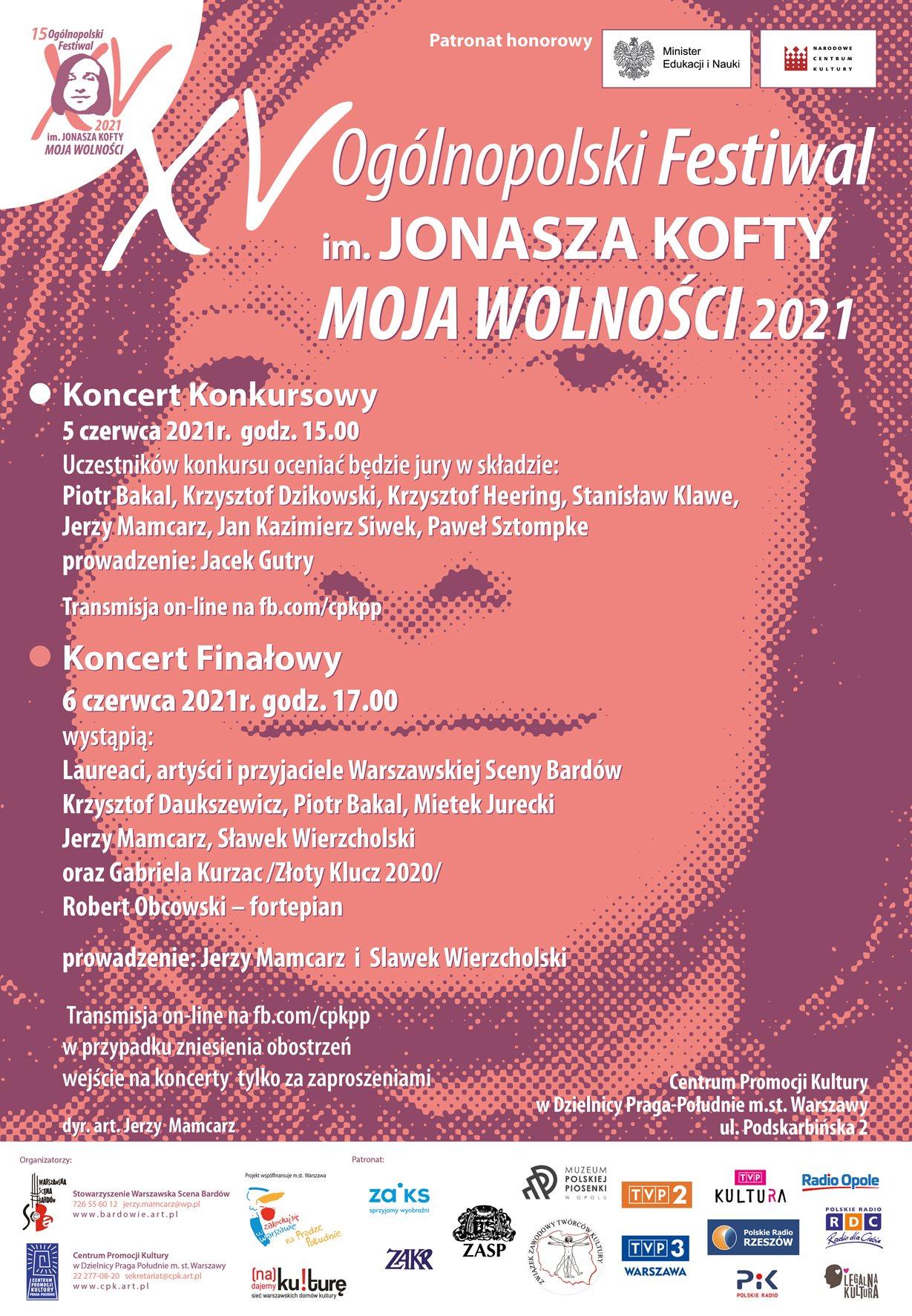 Plakat 15. Festiwalu im. Jonasza Kofty 'Moja Wolności'