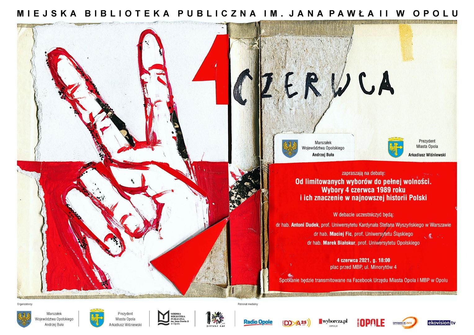 Plakat dotyczący debaty 4 czerwca przed MBP w Opolu