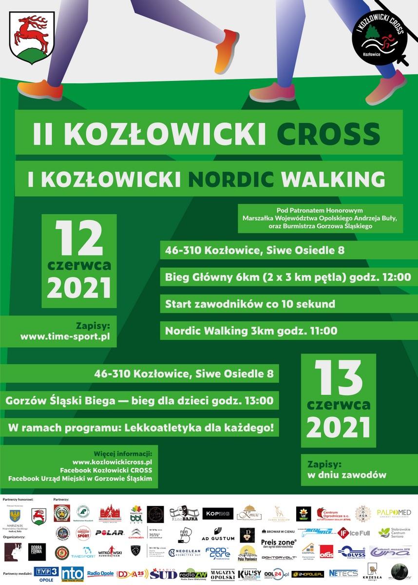 Plakat II Kozłowickiego Crossu i I Kozłowickiego Nordic Walking
