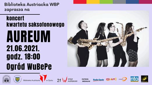 Plakat koncertu plenerowego kwartetu saksofonowego Aureum