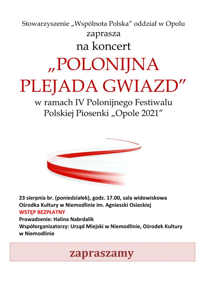 Plakat koncertu 'Polonijna Plejada Gwiazd'