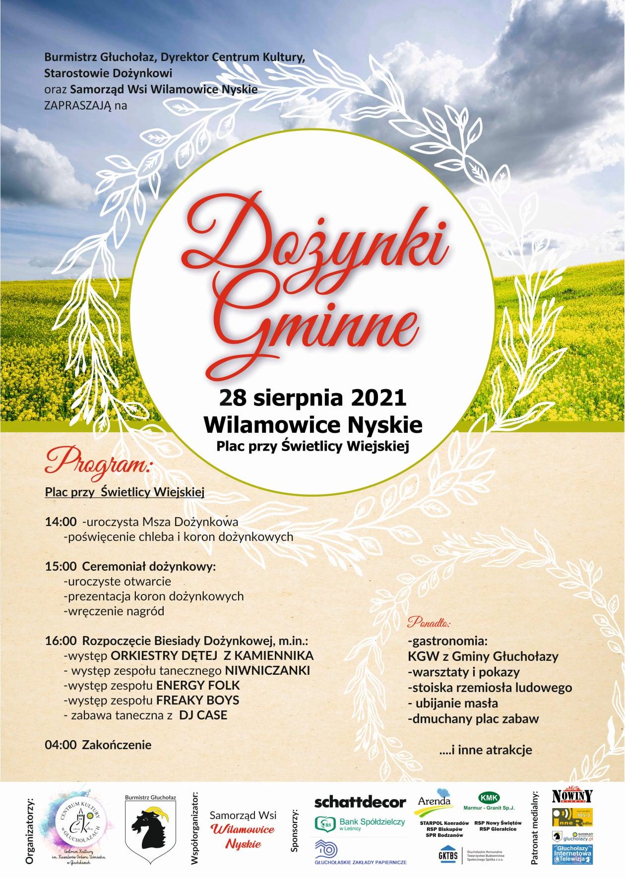 Plakat dożynek gminnych w Wilanowicach Nyskich