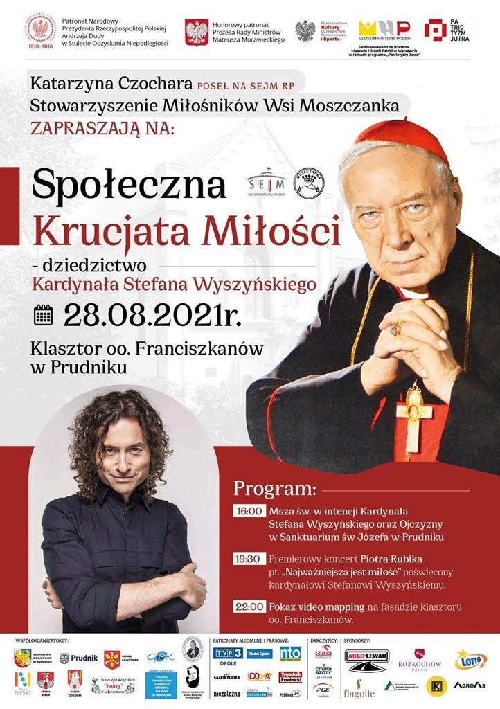 Plakat wydarzenia 'Społeczna Krucjata Miłości- dziedzictwo Kardynała Stefana Wyszyńskiego'