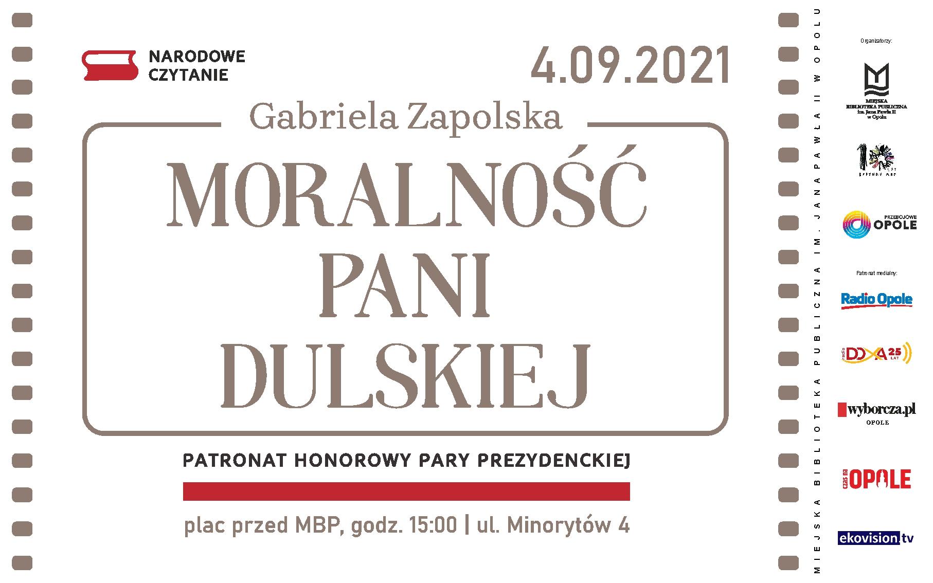 Plakat akcji Narodowego Czytania w Opolu