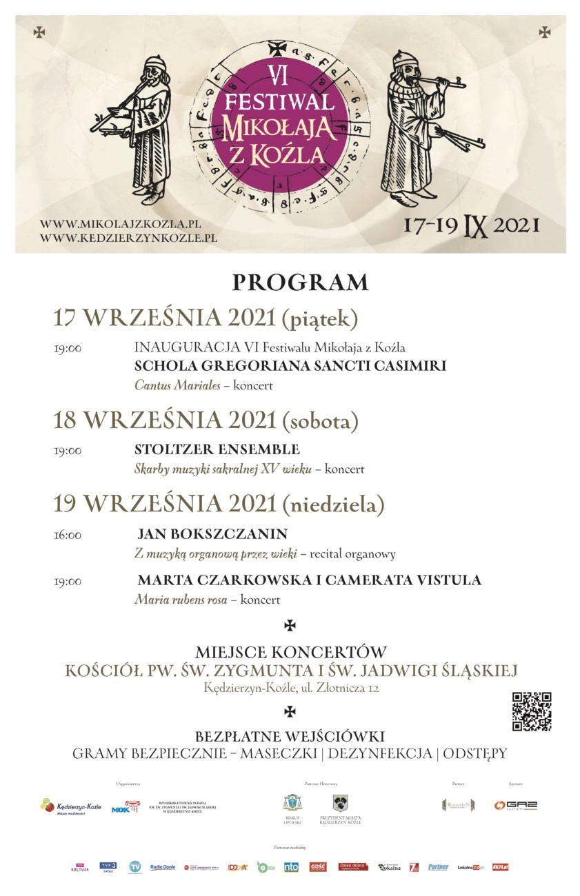 Plakat z programem VI Festiwalu Mikołaja z Koźla