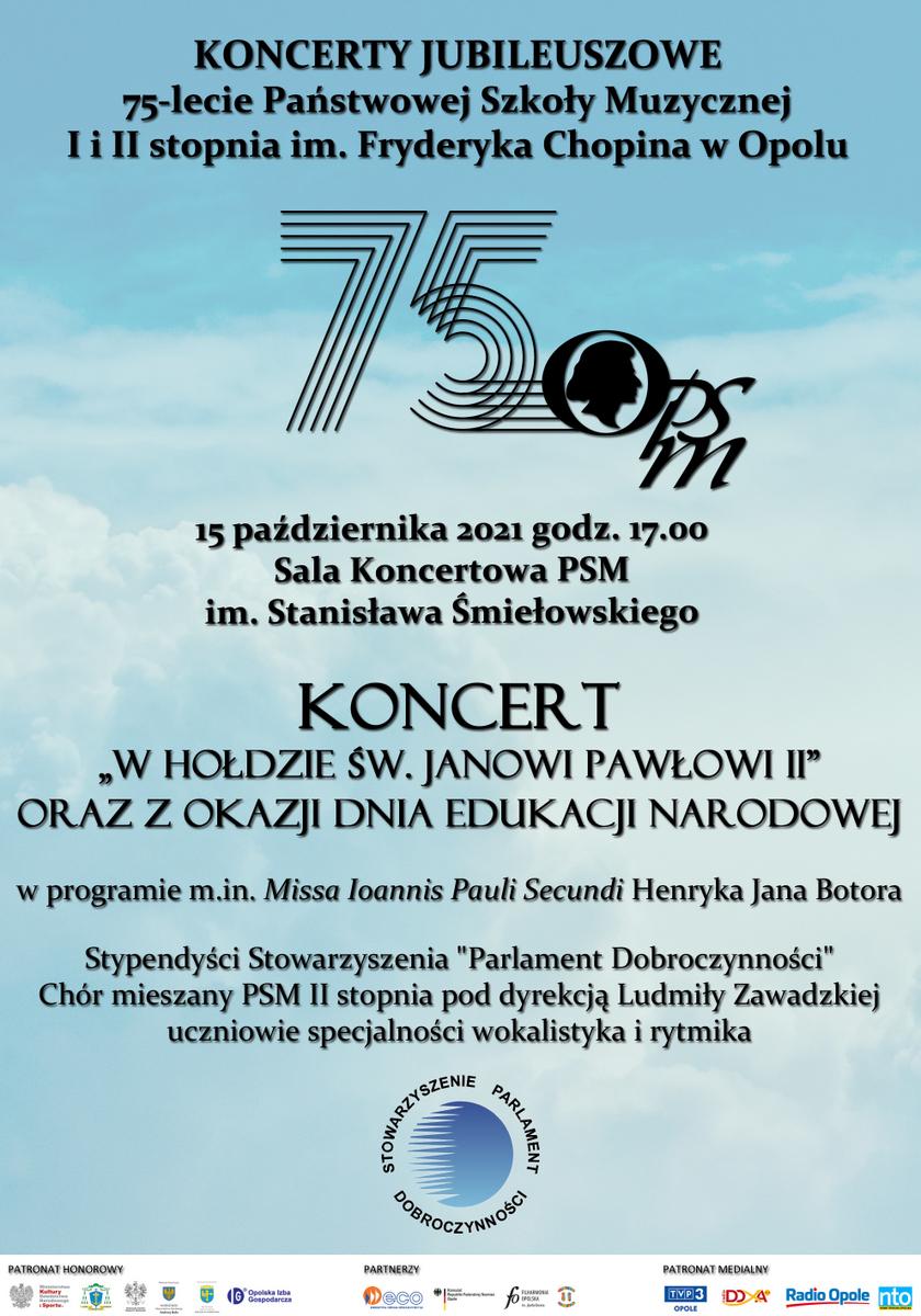 Plakat koncertu jubileuszowego 15.10.2021